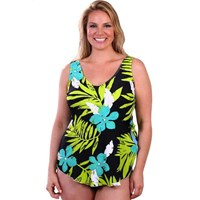 Tropical Greens Underwired Sarong Front Maillot Bathers