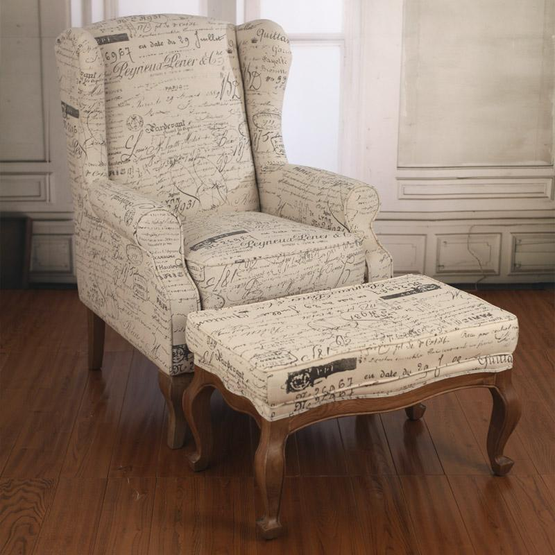 French Script Wingback Chair Home Design Ideas