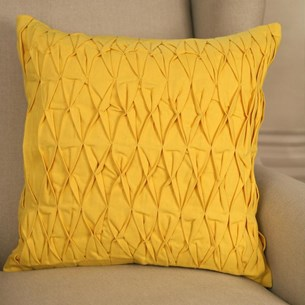 Ruched Cotton Cushion - Yellow