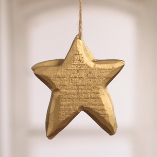 Carved Wooden Gold Stars - Set of Two