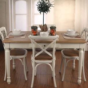 Oak/White Dining Table with Drawer - 'Brittany Collection'