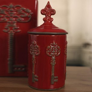 Ceramic Decorative 'Key' Jar - Red
