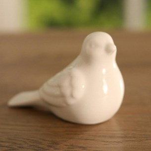White Ceramic Mini Bird - Sitting