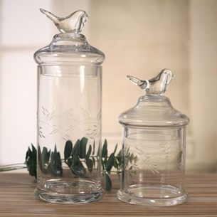 Glass Jars with Bird Lids - Two Sizes