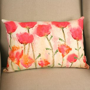 Pink Flowers Lumbar Cushion