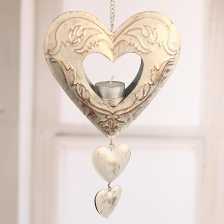 Gold & Cream Hanging Heart Tealight