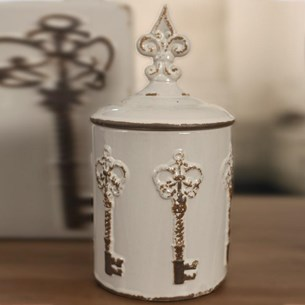 Ceramic Decorative 'Key' Jar - Cream