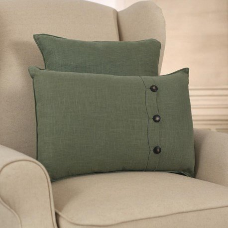 100% Linen Green Cushion - Square or Lumbar