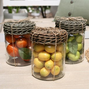 Glass Jar with Faux Fruit