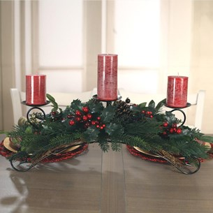 Table Centre Three Candle Snow Berry