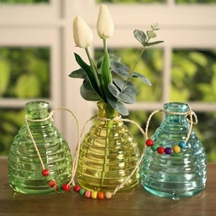 Coloured Ribbed Hanging Bottles