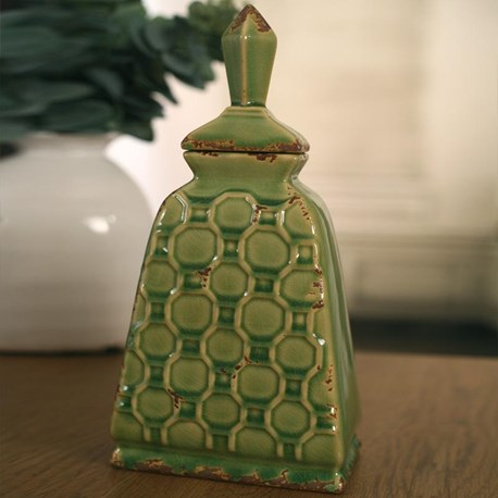 Ceramic Canister 'Diamond' - Green