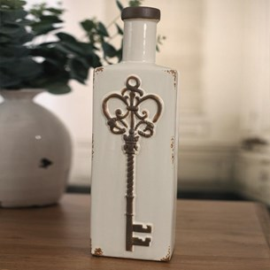 Ceramic Decorative 'Key' Bottle - Cream