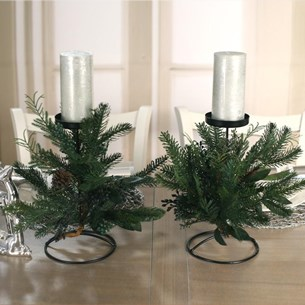 2 x Table Centres One Candle Pine & Cedar
