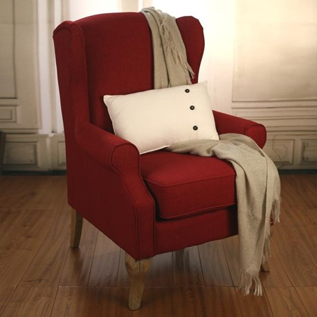 Wingback Chair Red 100% Linen