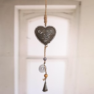 Hanging Heart with Metal Bird Design