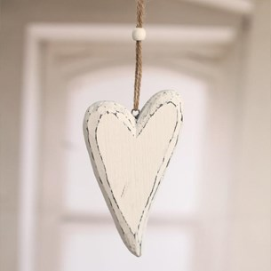 Hanging Wooden Heart Antique White