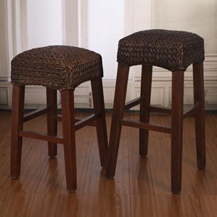 Woven Seagrass Brown Stool - Breakfast or Bar Height