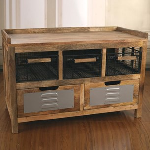 Bench Seat with Storage Drawers 'Industry'