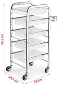 'Satin' Metal framed salon trolley in white or black, with hair dryer holder, 5 trays