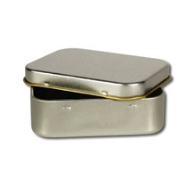 Silver Rectangular Tin With Lid