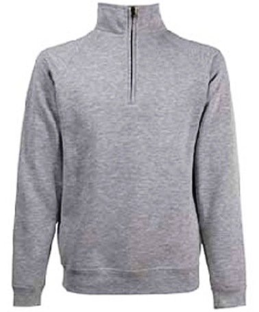 Fruit Of The Loom Zip Neck Sweatshirt - Heather Grey - Choice of Sizes -  BT-62114-HG