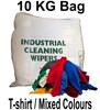 Coloured T-Shirt Cloth Rags - 10KG Bag - Mixed Colour and Material - [MW-TS10KGBAG]