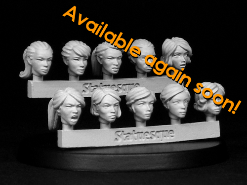 Availability of the Heroic Scale Female Heads ranges
