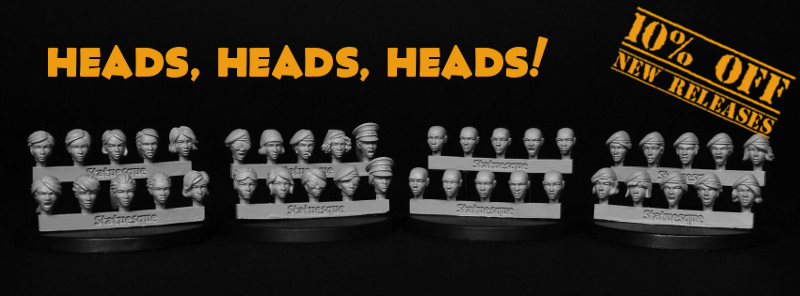 New Heroic Scale Female Heads on sale now!