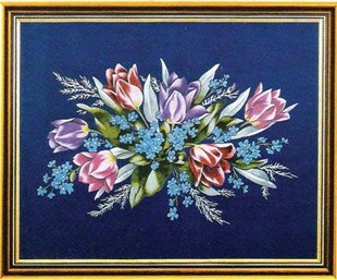 Bouquet of Tulips on blue velvet