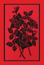 Rose Silhouette on red velvet