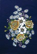 Floral Bouquet on Blue Velvet
