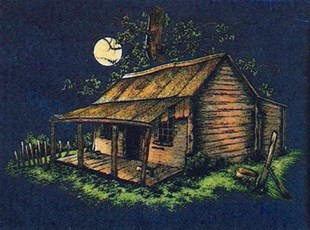 Moonlight Cottage on blue velvet