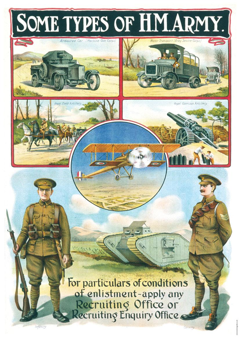 SOME TYPES OF HM ARMY - First World War Propaganda Poster ...