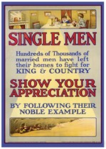 SINGLE MEN - First World War Propaganda Poster