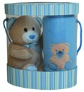 Blue Baby Blanket & Teddy Gift Boxed Set