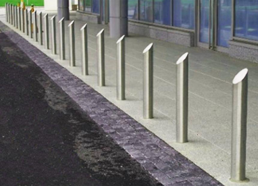 125mm Mitre Top Stainless Steel Bollard Furniture For