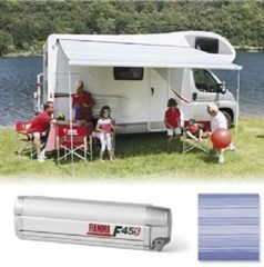 Fiamma F45 S awning. 300cm - Titanium case with a Blue Ocean canopy