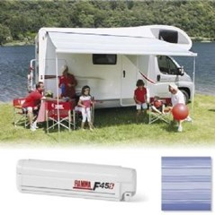 Fiamma F45 S awning, 350cm - White case with a Blue Ocean canopy