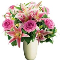Lilies & Roses Pink Tones, Bunches From $55