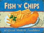 Fish n Chips - A3 Metal Wall Sign