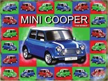 Mini Cooper - Blue - Metal Wall Sign (2 sizes)