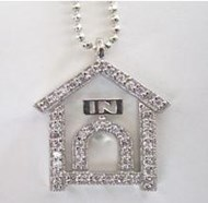 Sterling Silver Doghouse Pendant with Cubic Zirconia