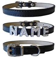 Plain Leather with Crystal Buckle Dog Collar (Black)