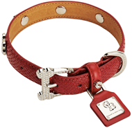 Chrome Bones Classic Red Diamonds Collar