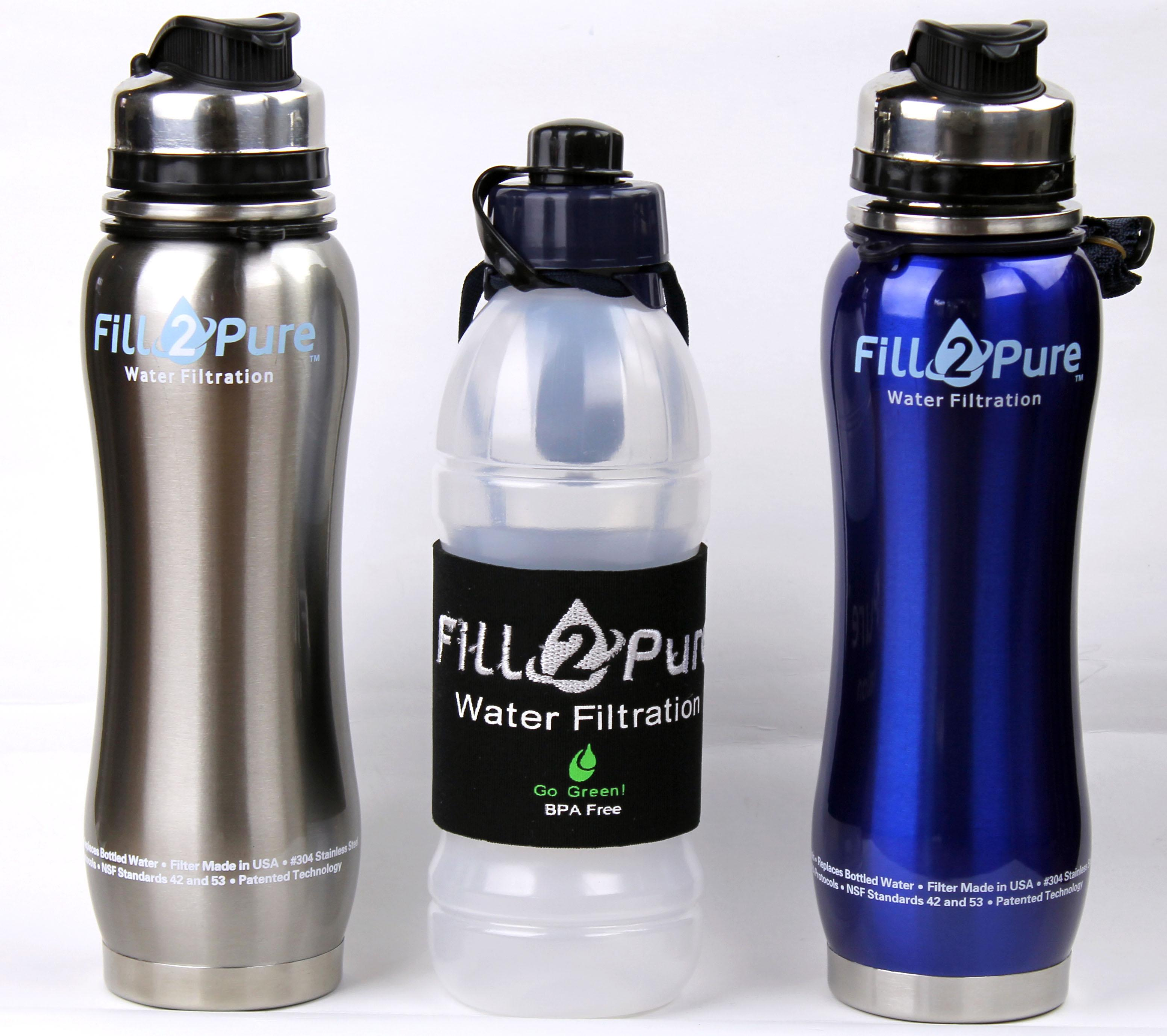 Fill2pure 800 Ml Red Stainless Steel Water Filter Bottle