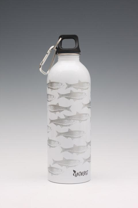 Earthlust Fish White Stainless Water Drink Bottle 1000 Ml
