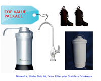 Minwell+ Water Filter + Under Sink Kit + Extra Filter + Stainless Drinkware