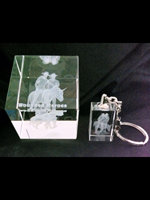 """""""SIMPSON & HIS DONKEY"""" LAZERED - 3D CRYSTAL PAPERWIEGHT AND KEYRING - Beautifully Gift Packed - Copy"""
