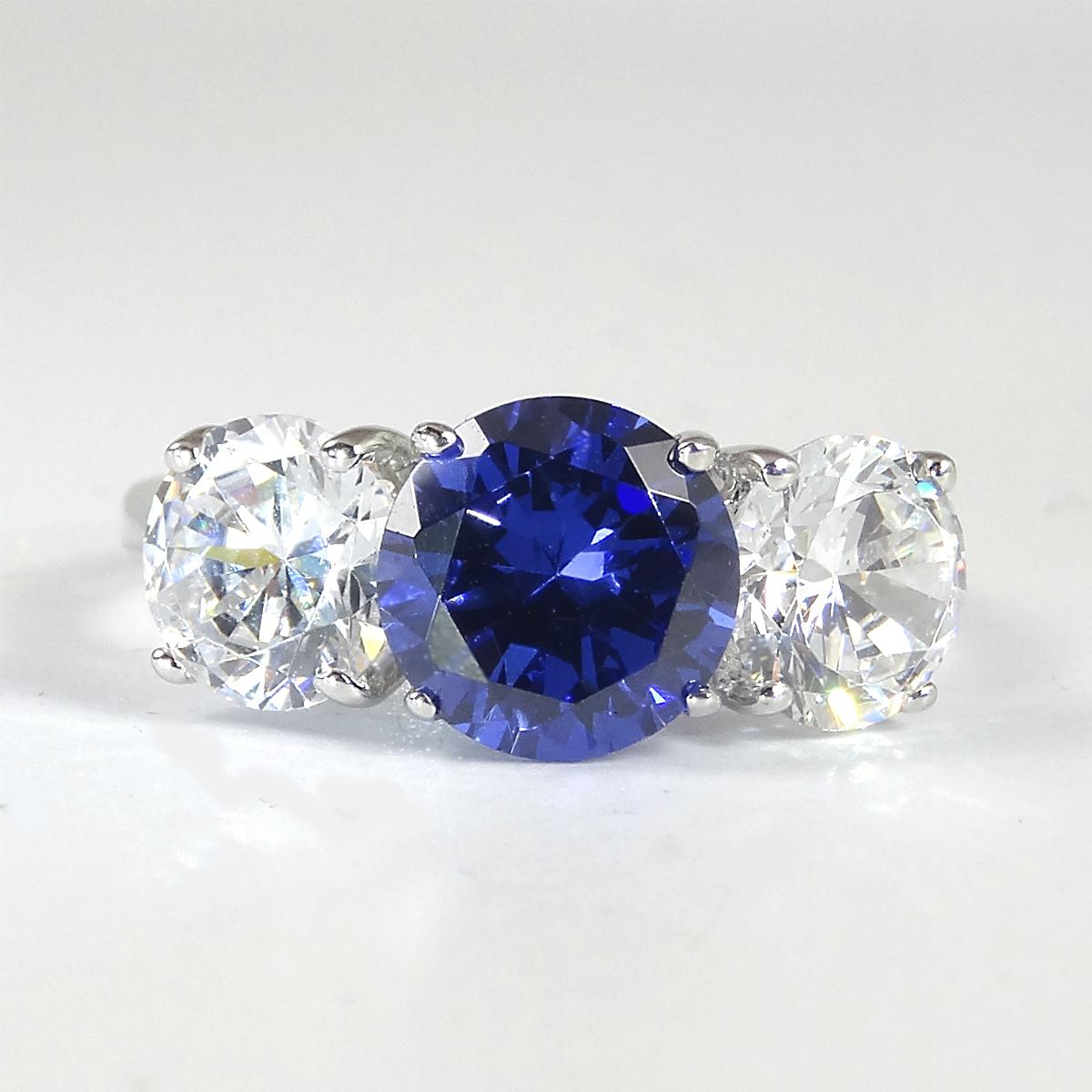 Faux Sapphire And Diamond Eternity Ring